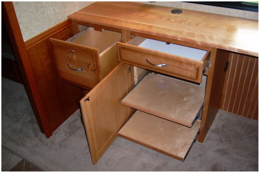 90 degree cherry desk for RV
