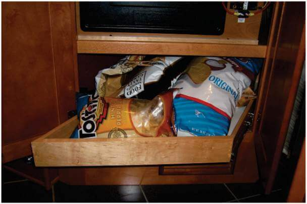 Pullout shelf with chips