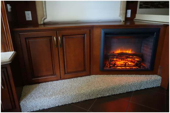 Custom RV cabinet with fireplace