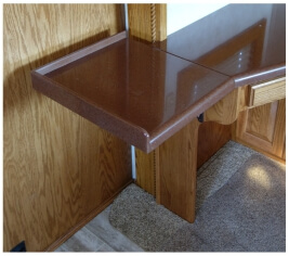 Flip up countertop extension for custom desk