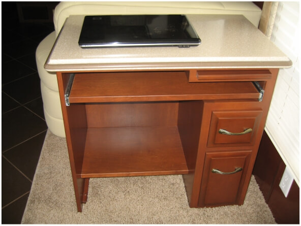 Full featured small desk with drawers and laptop pullout