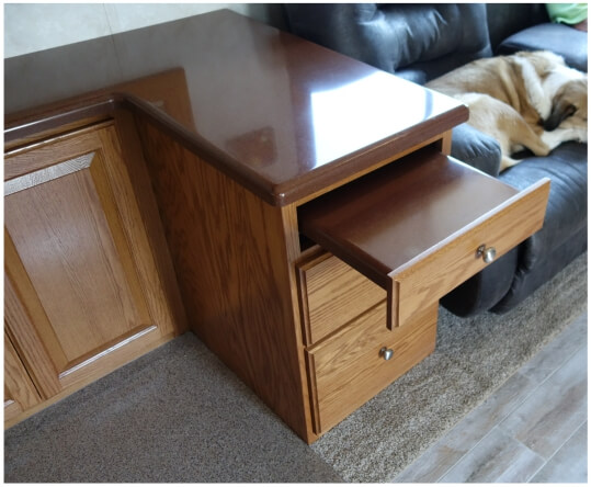 Custom desk pullout tabletop drawer