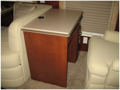 Recliner RV desk