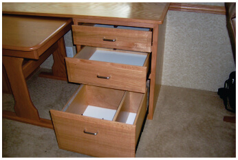 RV hardwood desk with pullout drawers