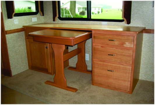 RV desk pullout drawers