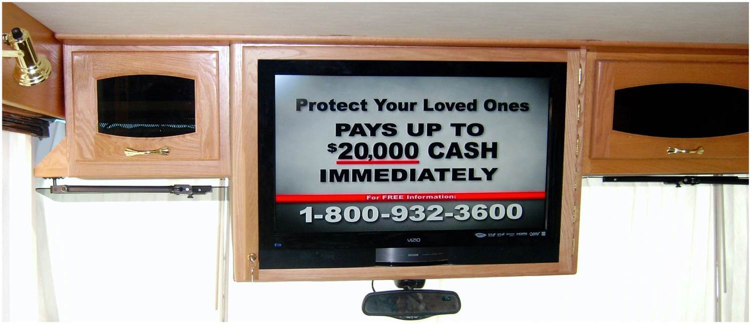 Swinging TV door cabinet with image on TV screen