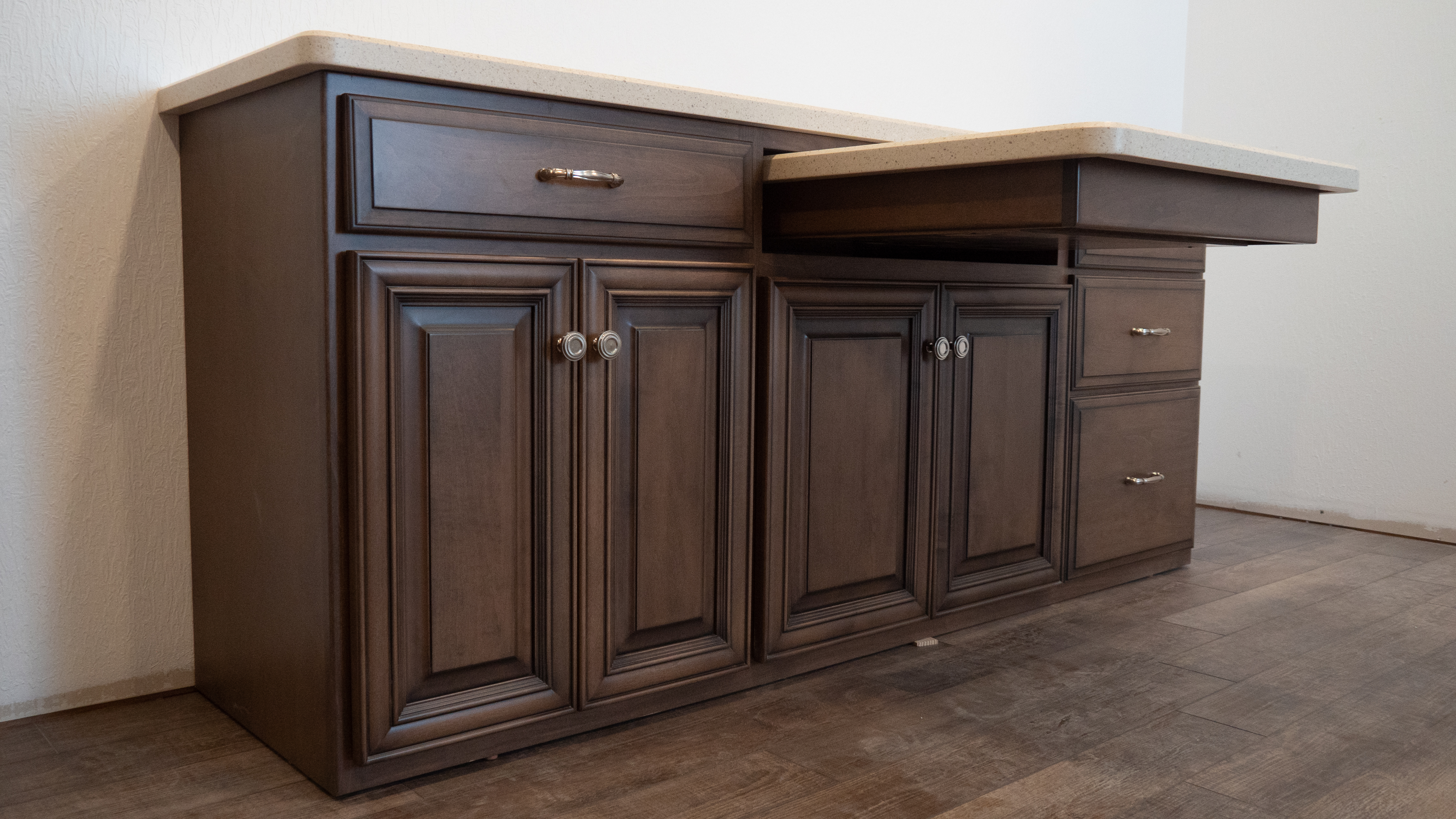 Custom cabinets with pullout table