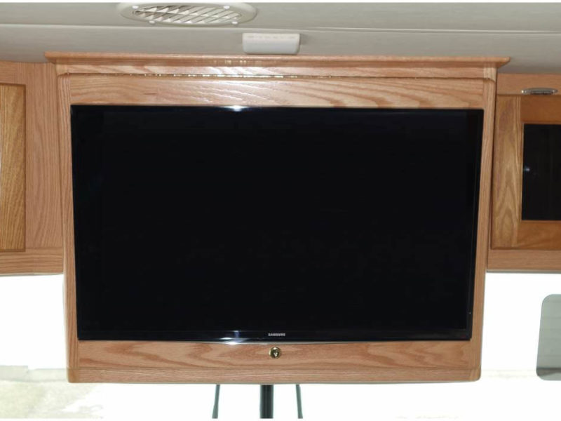 Front overhead TV door cabinet mount