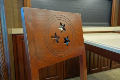Custom chair with western style design - stars in a circle