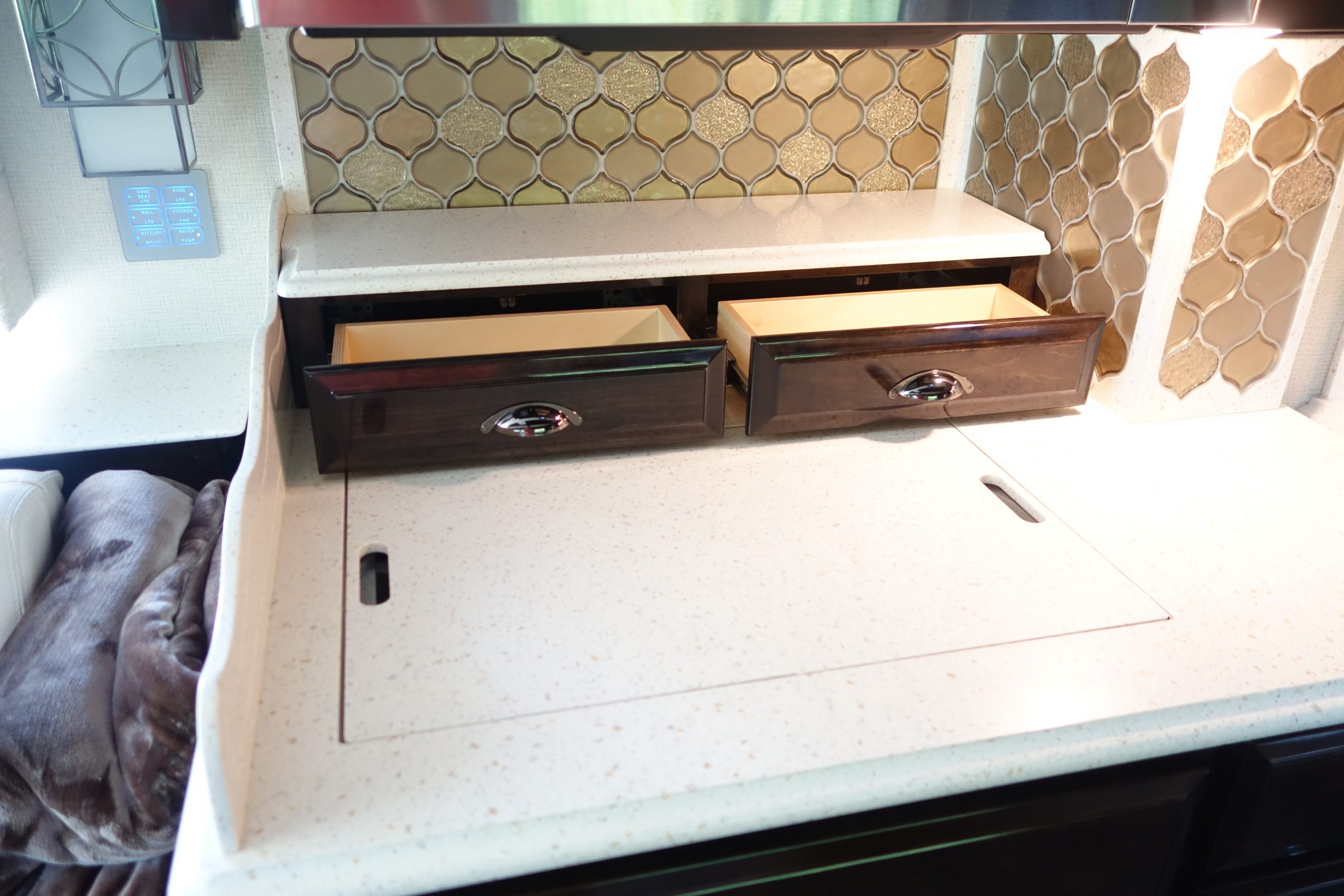 Countertop drawers opened