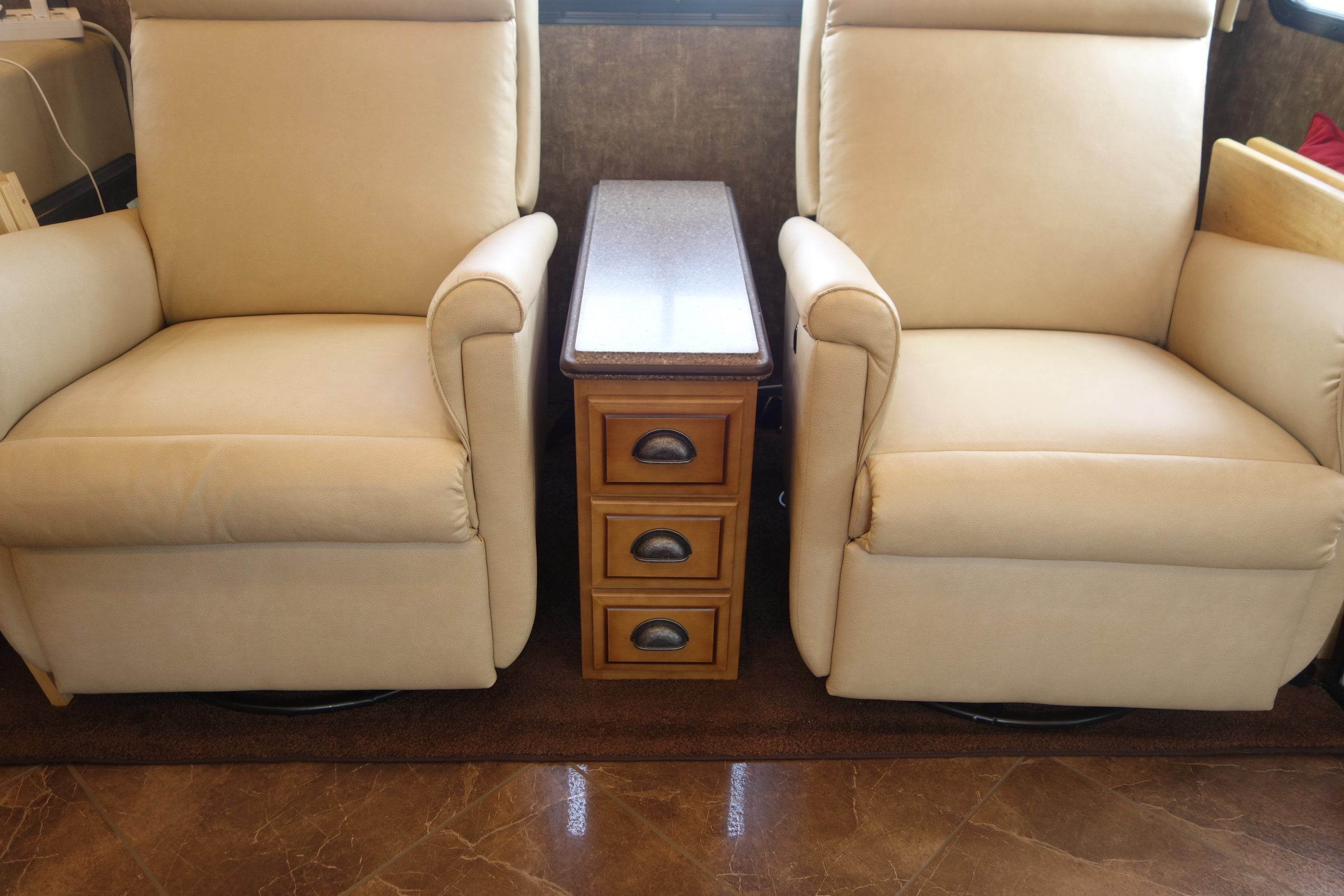 Custom RV drawers between chairs