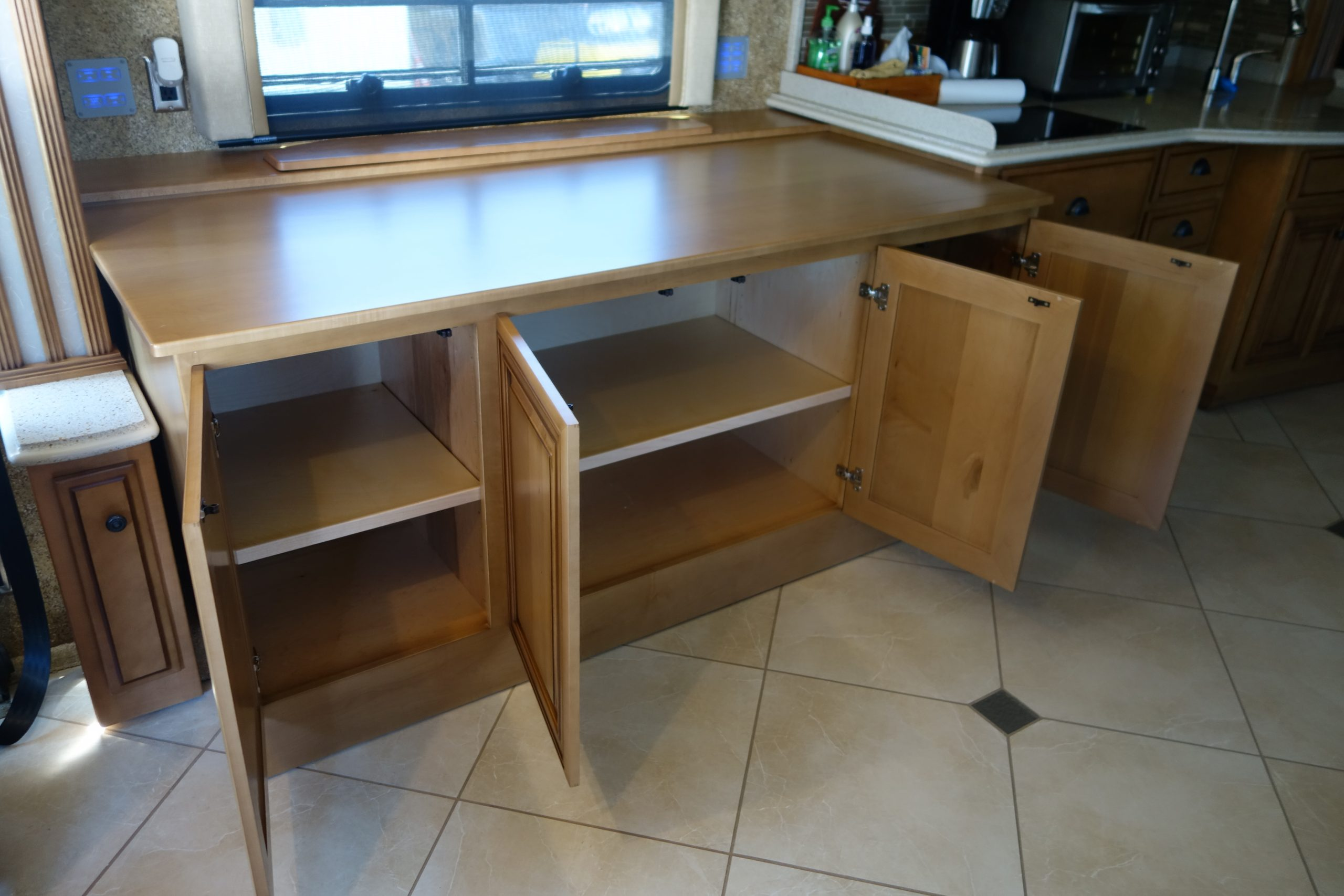 Custom countertop with open cabinets