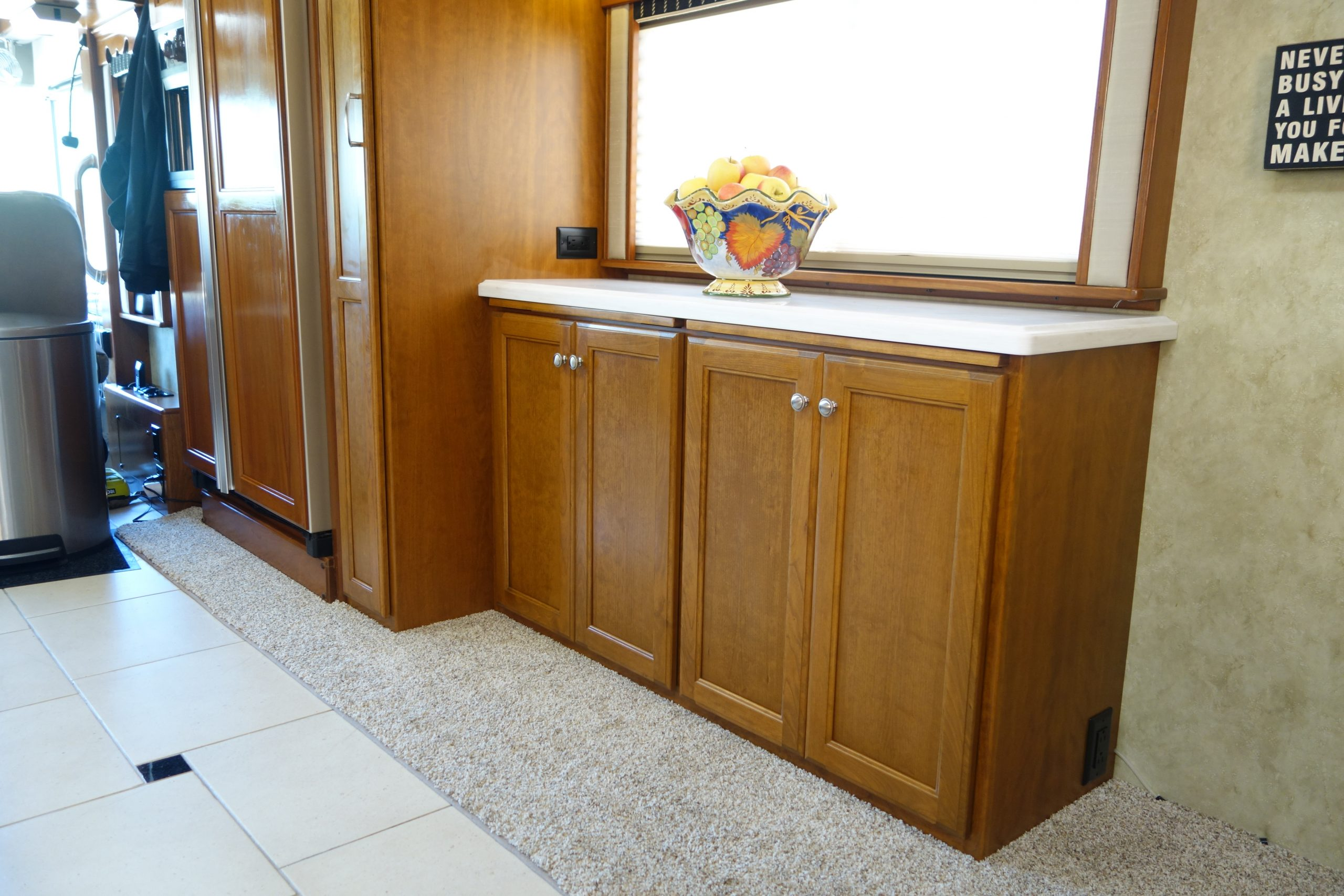 Custom RV cabinets under window