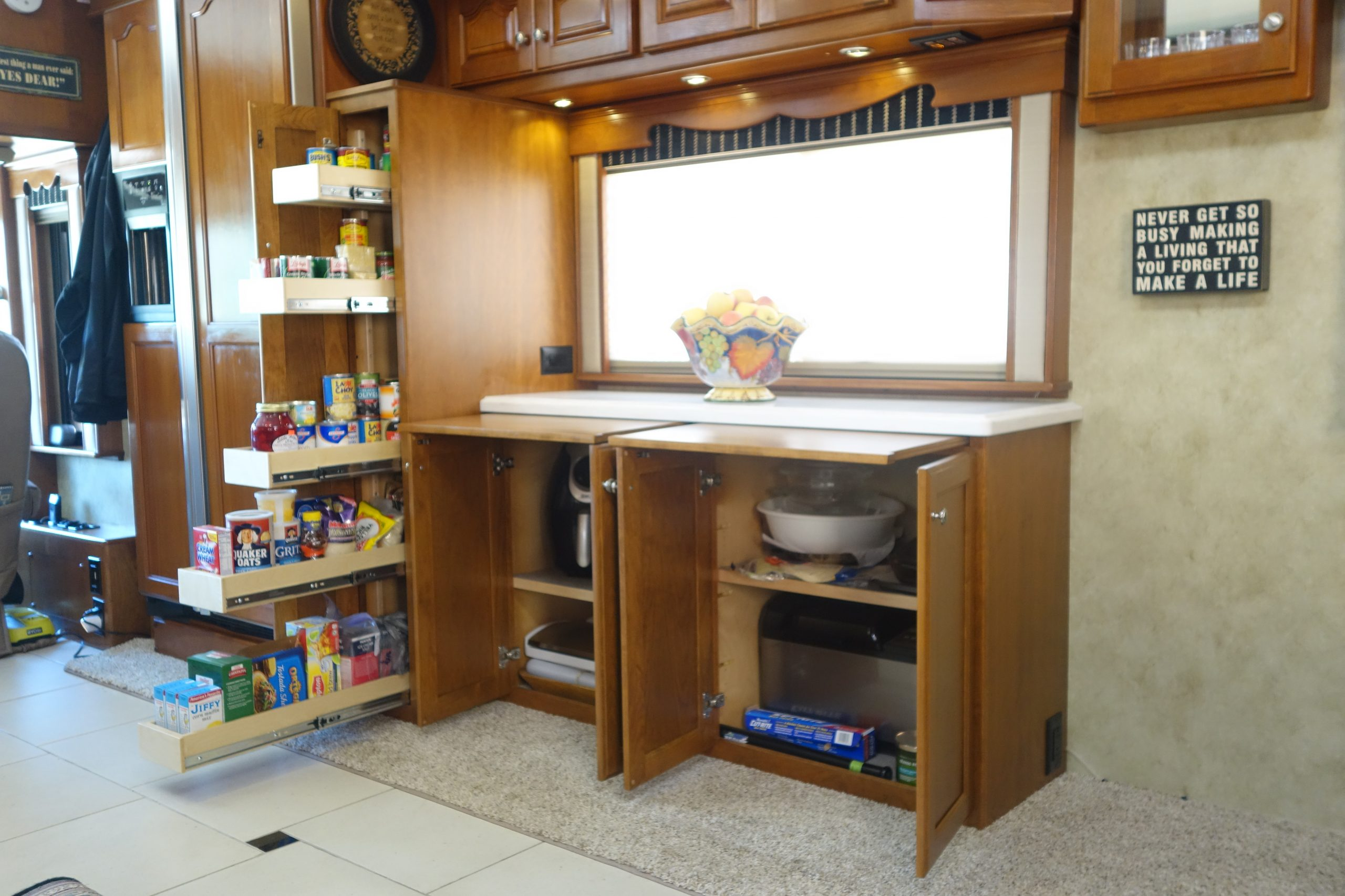 Custom pantry and cabinets with open doors
