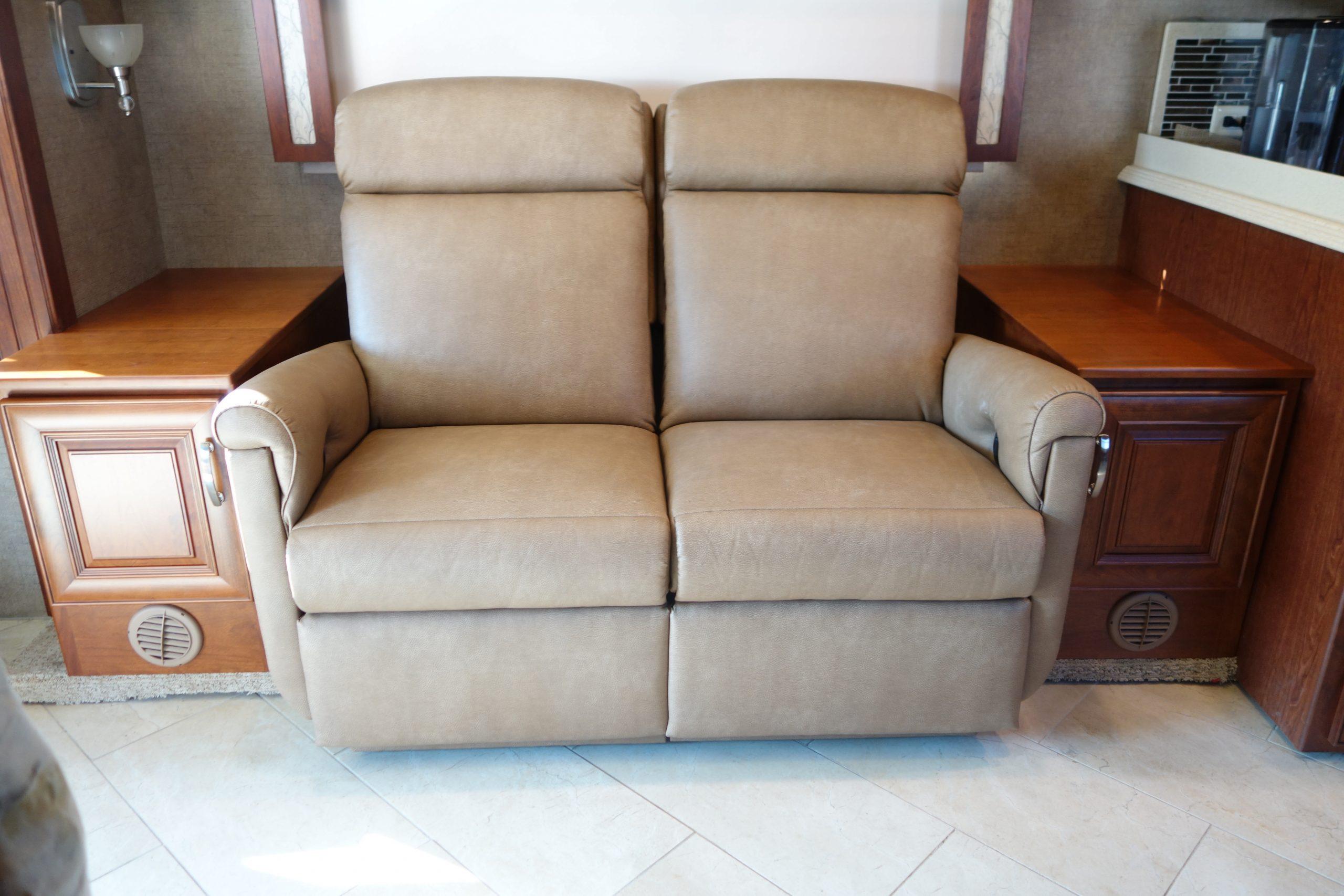 Custom RV speaker cabinets with sofa in between set