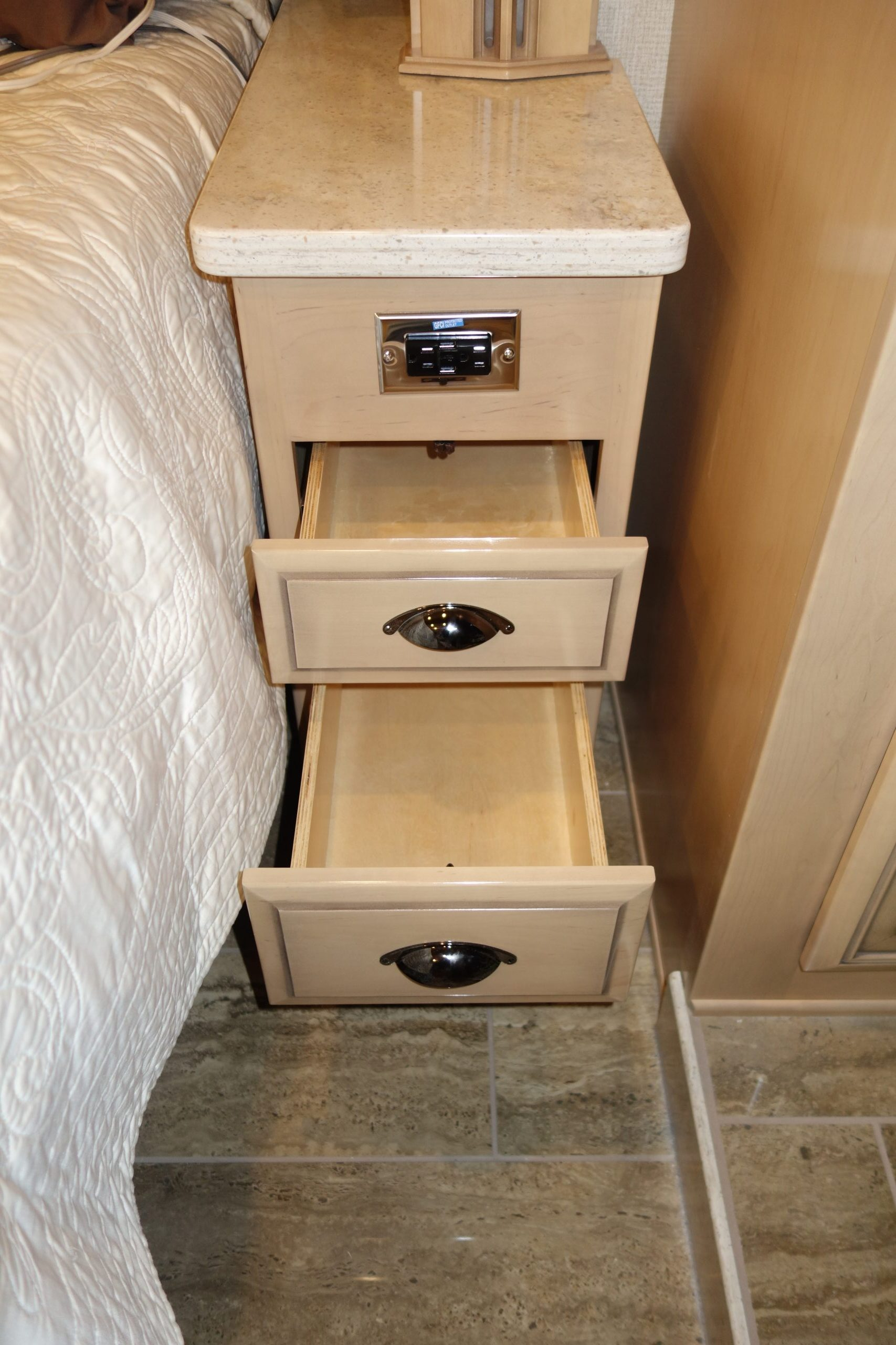 Custom bedside drawer set with open drawers