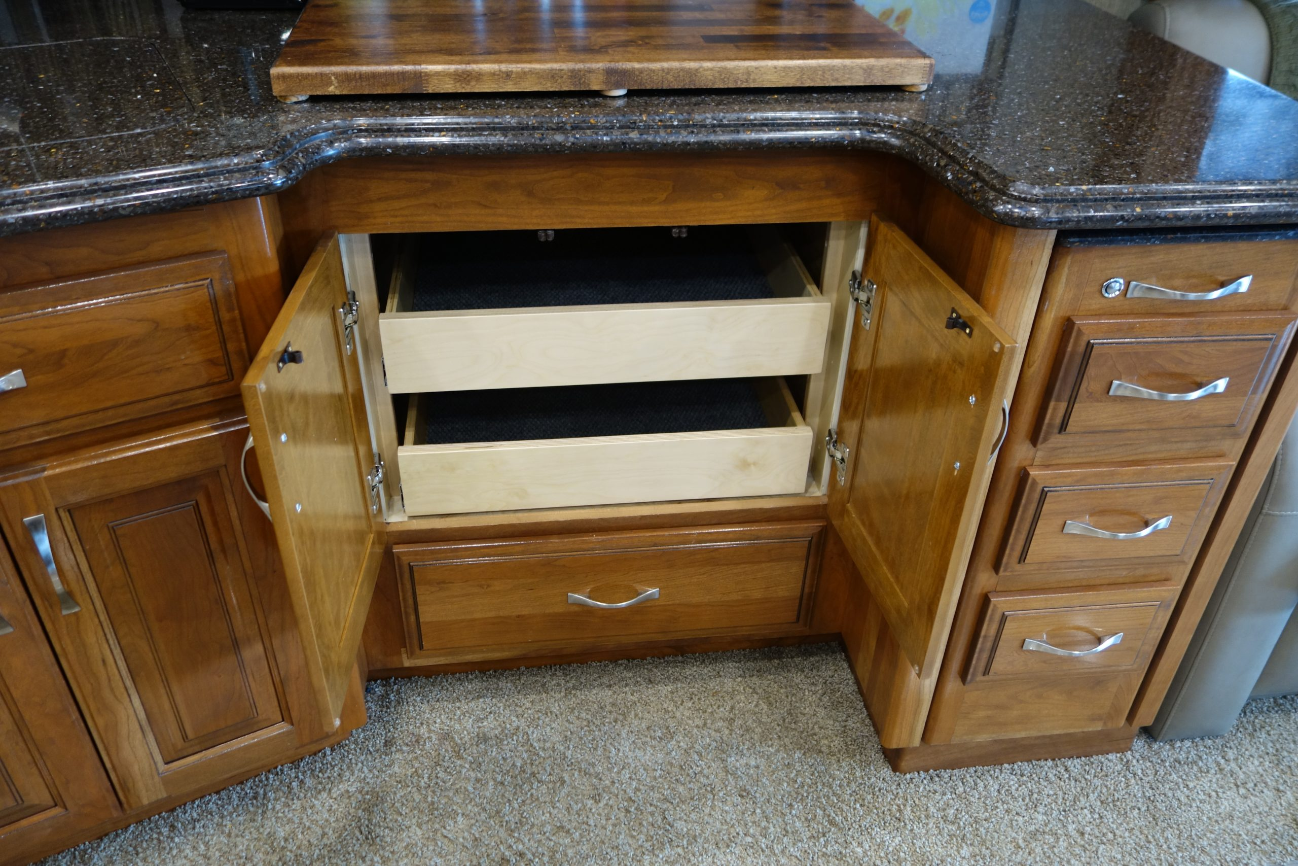 Custom RV kitchen cabinets with pullout drawers
