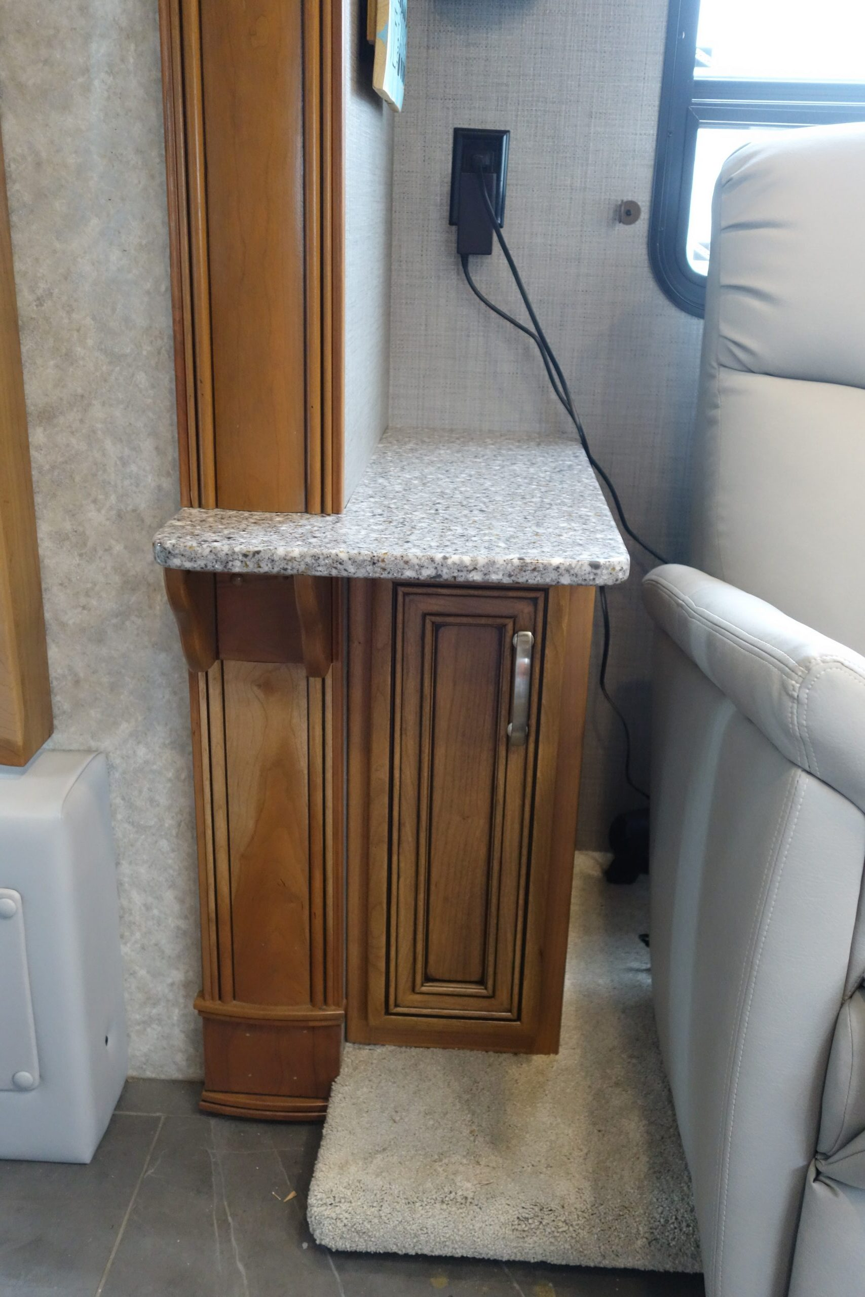Custom side cabinet next to couch